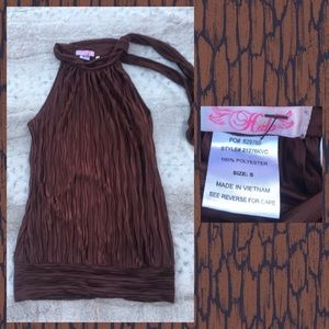 HALO blouse brown ripply silky